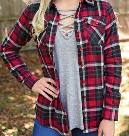 Glad To Be Plaid Flannel Top - Berry/Black