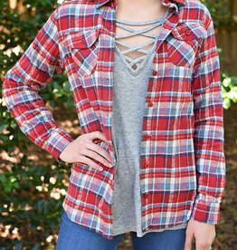 Glad To Be Plaid Flannel Top - Red/Blue/Grey