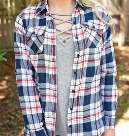 Glad To Be Plaid Flannel Top - Slate Blue/Red