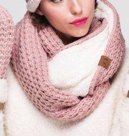 Chunky Knit Sherpa Fur Infinity Scarf- Rose