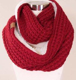 Chunky Knit Sherpa Fur Infinity Scarf- Burgundy