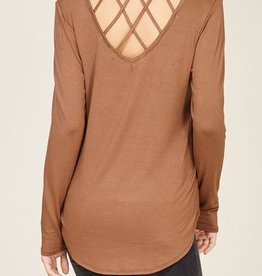 Stress Less Criss Cross Back Top- Coffee
