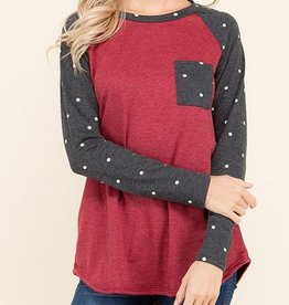 Finally Friday Top - Charcoal/Burgundy