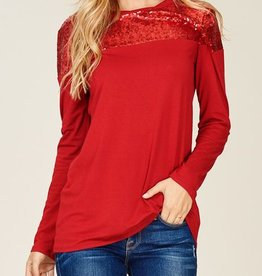 Out Shine Sequin Top - Burgundy