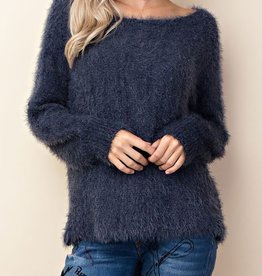 Unchanging Love Fuzzy Sweater - Navy