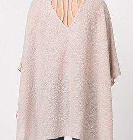 Bring The Chill Knit Poncho - Taupe