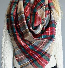 Plaid Blanket Scarf - Beige
