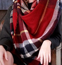 Plaid Blanket Scarf - Red