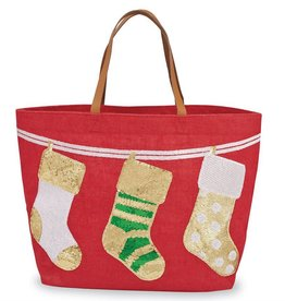 Christmas Stockings Tote- Red