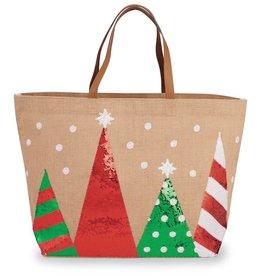 Christmas Trees Tote- Tan