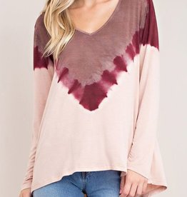 Mix It Up Top -tie dyed wine