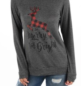 Be Merry and Bright Sweatshirt - Charcoal
