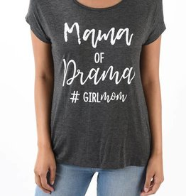 Mama Of Drama Graphic Tee-SS Charcoal
