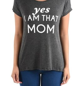 Yes I Am That Mom Graphic Tee-SS Charcoal