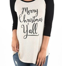Merry Christmas Yall Graphic Baseball Tee- Oatmeal