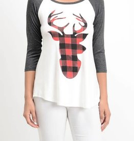 Reindeer Games Graphic Baseball Tee- Charcoal