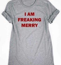 I Am Freakin Merry Graphic Tee - Heather Grey