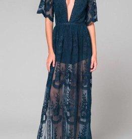 Taken To Heart Lace Maxi Dress - Navy