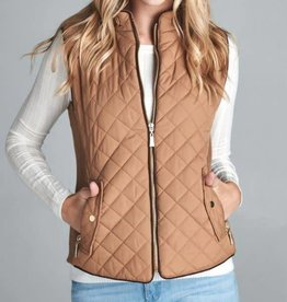 On The Right Track Quilted Vest - New Brown