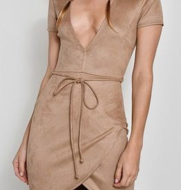 Set My Heart Free Suede Dress - Taupe