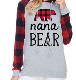 Nana Bear Graphic Hoodie- Red/H. Grey