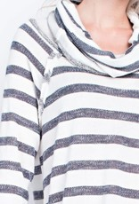Living In A Dream Top- Charcoal Striped