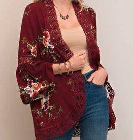 Sunset Sweetheart Kimono - Burgundy