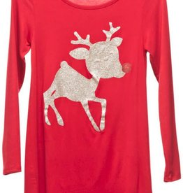 Girl's Rudolph Dress - Red/Gold Print