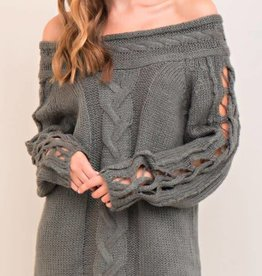 Whatever Happens Off Shoulder Sweater - Grey