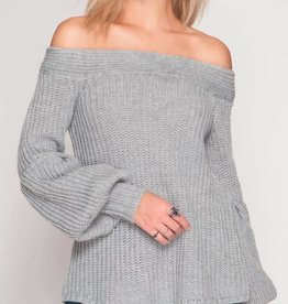 Imagine This Off Shoulder Sweater - Grey