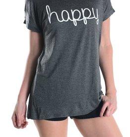 Happy Graphic Tee - Heather Grey