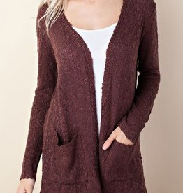 Completely Cozy Cardigan- Red Bean