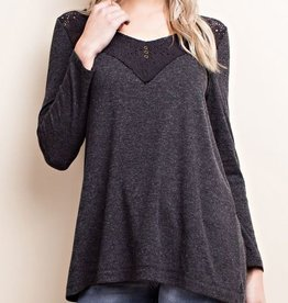 Let's Picnic Top - Charcoal