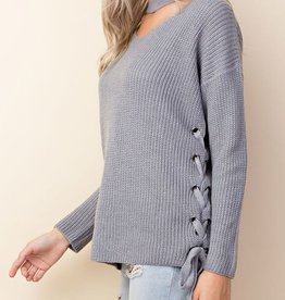 Say You Will Choker Lace Up Sweater- Dusty Blue