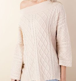 Cozy Commitment Off Shoulder Sweater - Cream