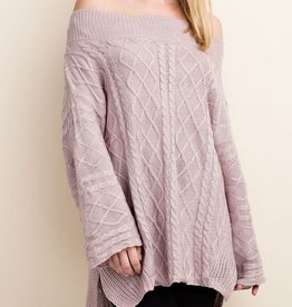 Cozy Commitment Off Shoulder Sweater - Dusty Pink