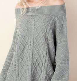 Cozy Commitment Off Shoulder Sweater - Sage