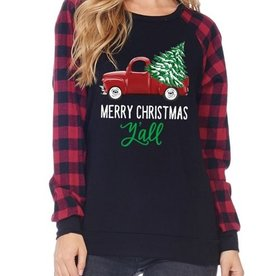 Merry Christmas Y'all Truck Plaid Top - Red/Black