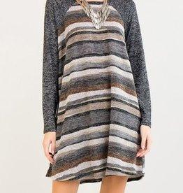 With A Twirl Dress- Black Grey