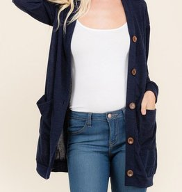 While You're At It Cardigan - Navy