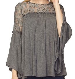 Words Of Love Lace Bell Sleeve Top - Heather Grey