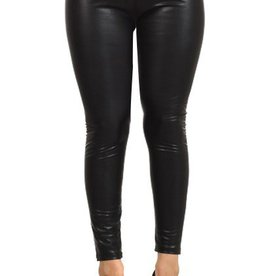 Coming Out Strong Faux Leather Fleece Leggings - Black