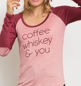 Coffee Whiskey & You Long Sleeve Graphic Top - Mauve/Brick