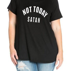 Not Today Satan Graphic Tee - Black