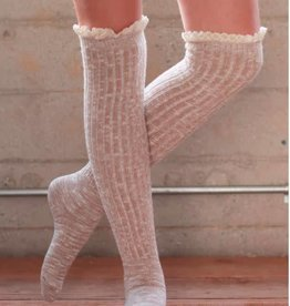 Over The Knee Sock W/Lace - Natural