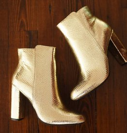 Smooth Strut Booties - Gold Snake
