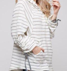 Just Fine Long Sleeve Hoodie - White/Grey