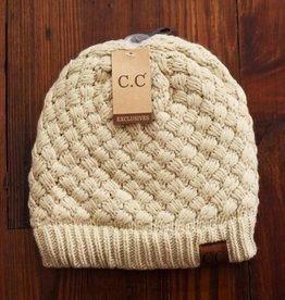 Basketweave Beanie Hat-Beige