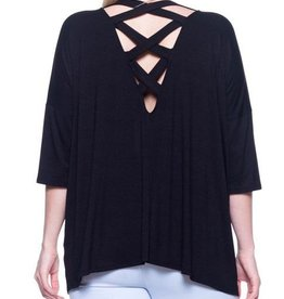 Crossing Lines Top - Black