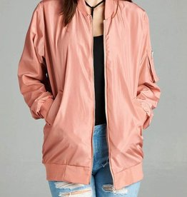 Falling Through Time Bomber Jacket - Dusty Pink